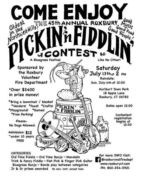 45th Annual Pickin n Fiddlin Flyer in Roxbury, CT
