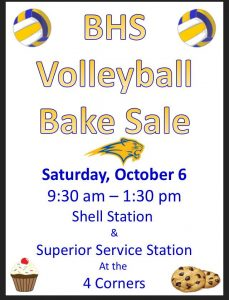 BHS Volley Ball Bake Sale