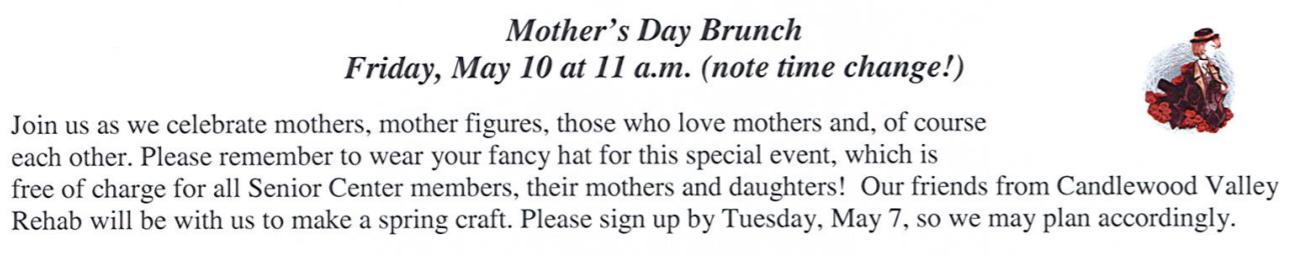 Senior Center Mother's Day Brunch